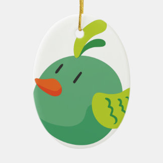 bird looking at the sky ceramic oval ornament