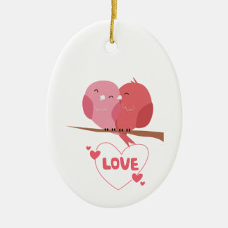 Bird Love Ceramic Ornament