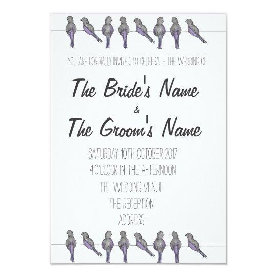 Bird-Lovers Wedding Invitation, Fully Customisable Card