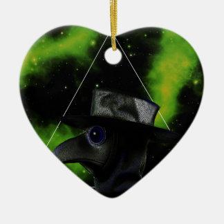 Bird-man Ceramic Heart Ornament