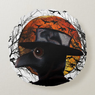 Bird-man Round Pillow