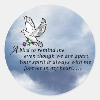 Bird Memorial Poem Classic Round Sticker