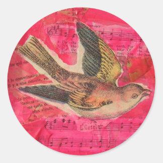 Bird Mixed Media  Hot Pink Background Round Sticker