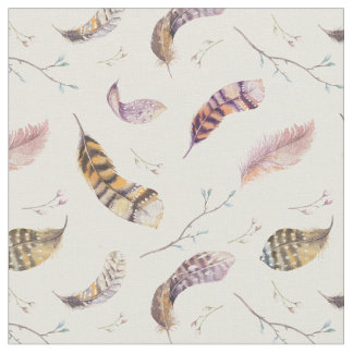 Bird Nature Feathers and Flowers Boho Pattern Fabric