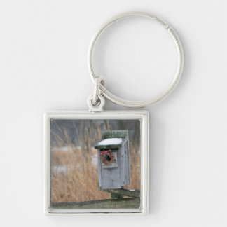 Bird, nest box with holiday wreath in winter Silver-Colored square keychain