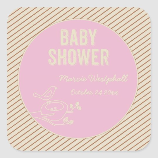 Bird Nest Pink Baby Shower Square Sticker