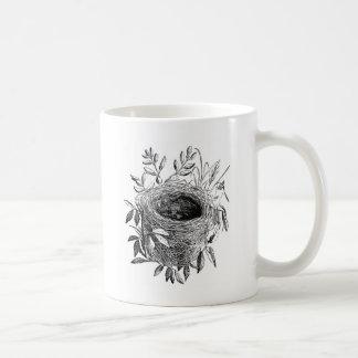 bird nest vintage illustration classic white coffee mug
