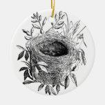 bird nest vintage illustration round ceramic ornament