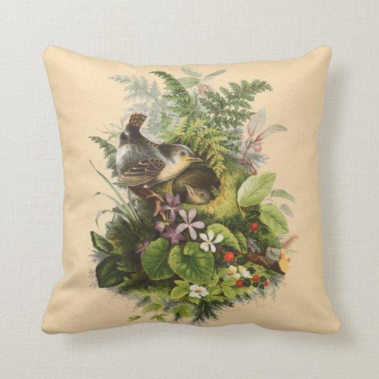 Bird Nesting Among Flowers Throw Pillow
