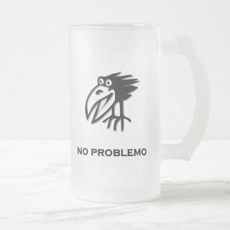 Bird no problemo frosted glass beer mug