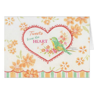 Bird Note Card Tweets from the Heart Watercolor
