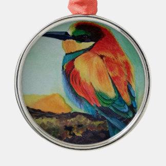 Bird of colors metal ornament