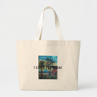 Bird of Paradise and Beach Scene Tote Bag