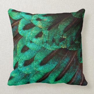 Bird of Paradise feather close-up Throw Pillow