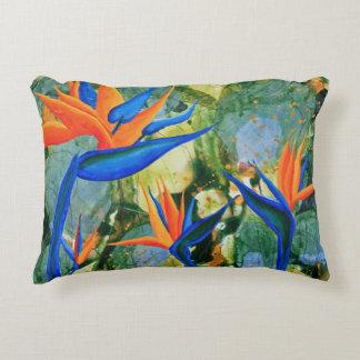 Bird of paradise flower blue orange accent pillow
