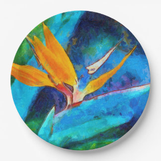 bird of paradise flower paper plate