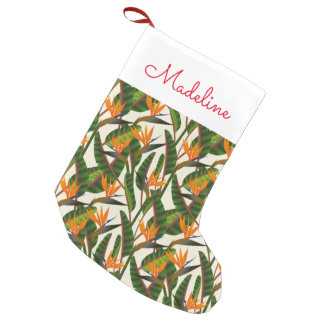 Bird Of Paradise Flower Pattern   Add Your Name Small Christmas Stocking