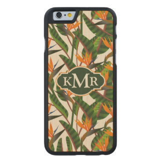 Bird Of Paradise Flower Pattern | Monogram Carved® Maple iPhone 6 Case
