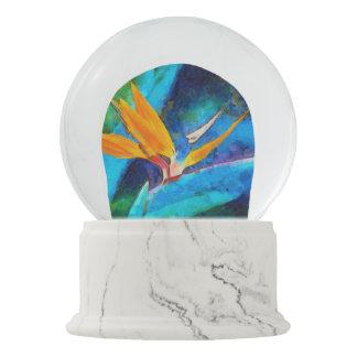 bird of paradise flower snow globe