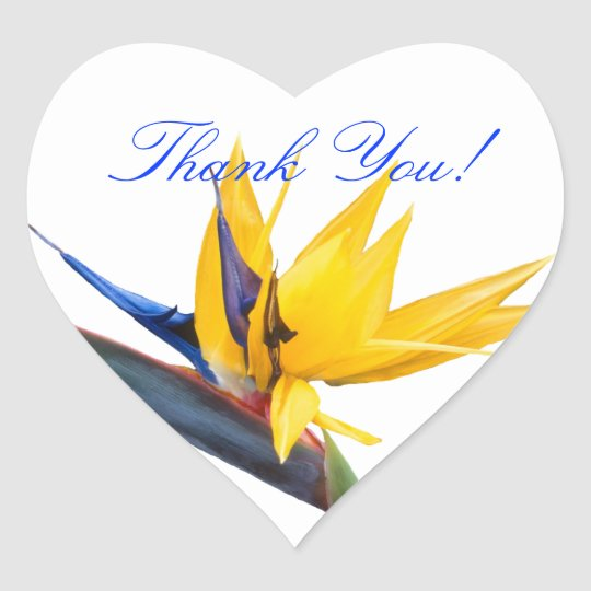 Bird of Paradise Heart Shaped Thank You Sticker