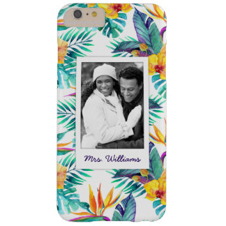 Bird Of Paradise & Orchid | Add Your Photo & Name Barely There iPhone 6 Plus Case