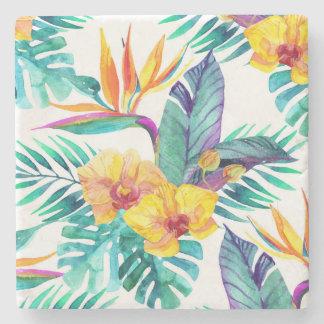 Bird Of Paradise & Orchid Pattern 2 Stone Beverage Coaster