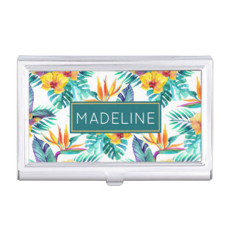 Bird Of Paradise & Orchid Pattern | Add Your Name Business Card Holder