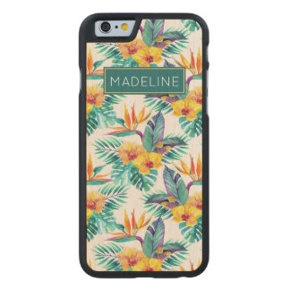 Bird Of Paradise & Orchid Pattern | Add Your Name Carved® Maple iPhone 6 Slim Case