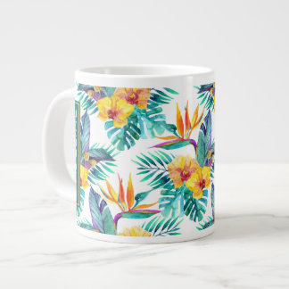 Bird Of Paradise & Orchid Pattern |Add Your Name Jumbo Mug