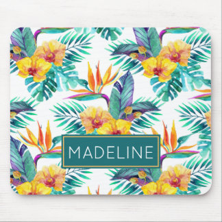 Bird Of Paradise & Orchid Pattern | Add Your Name Mouse Pad