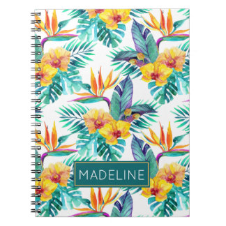 Bird Of Paradise & Orchid Pattern | Add Your Name Notebook