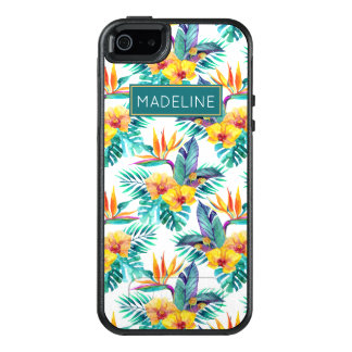 Bird Of Paradise & Orchid Pattern | Add Your Name OtterBox iPhone 5/5s/SE Case