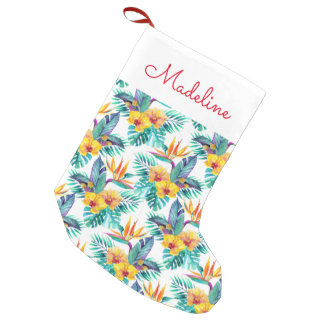 Bird Of Paradise & Orchid Pattern   Add Your Name Small Christmas Stocking