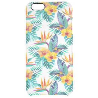 Bird Of Paradise & Orchid Pattern Clear iPhone 6 Plus Case