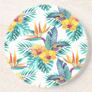 Bird Of Paradise & Orchid Pattern Coasters