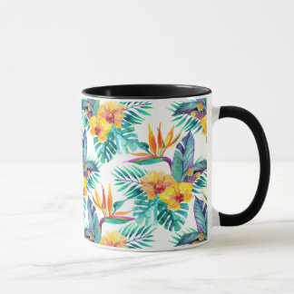 Bird Of Paradise & Orchid Pattern Mug