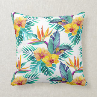 Bird Of Paradise & Orchid Pattern Throw Pillow