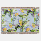 Bird of Paradise Palm Leaves Tropical Accent Throw Blanket