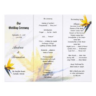 Bird of Paradise Tri-Fold Wedding Program Template