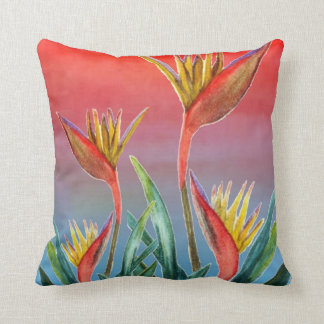 Bird of Paradise troical floral pillow