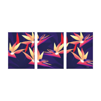 Bird-of Paradise Tropical Floral Triptych Canvas
