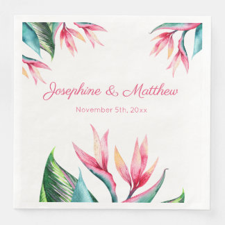 Bird of Paradise Tropical Wedding Napkins Paper Napkins