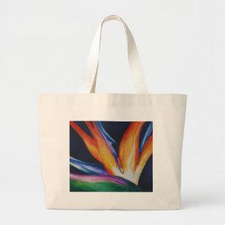 Bird of Paradise Watercolor Art Large Tote Bag