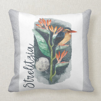 Bird of Paradise watercolor Throw Pillow