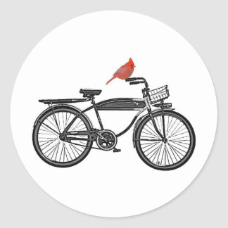 Bird on a Bike Round Sticker