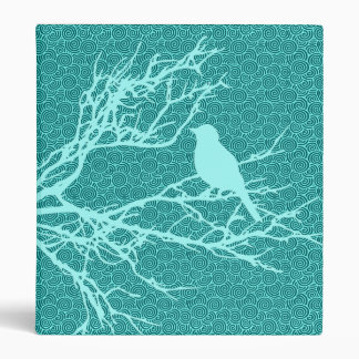 Bird on a Branch, Aqua Against Turquoise Binders