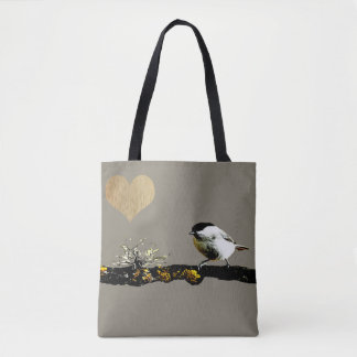Bird on a branch Heart Tote Bag