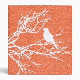 Bird on a Branch, White Against Coral Orange Vinyl Binders