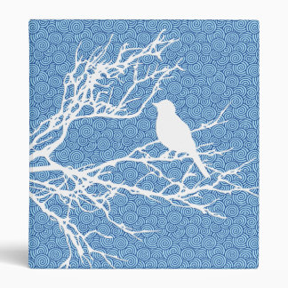 Bird on a Branch, White Against Sky  Blue 3 Ring Binders