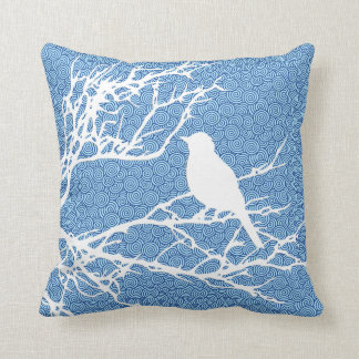 Bird on a Branch, White Against Sky  Blue Throw Pillow